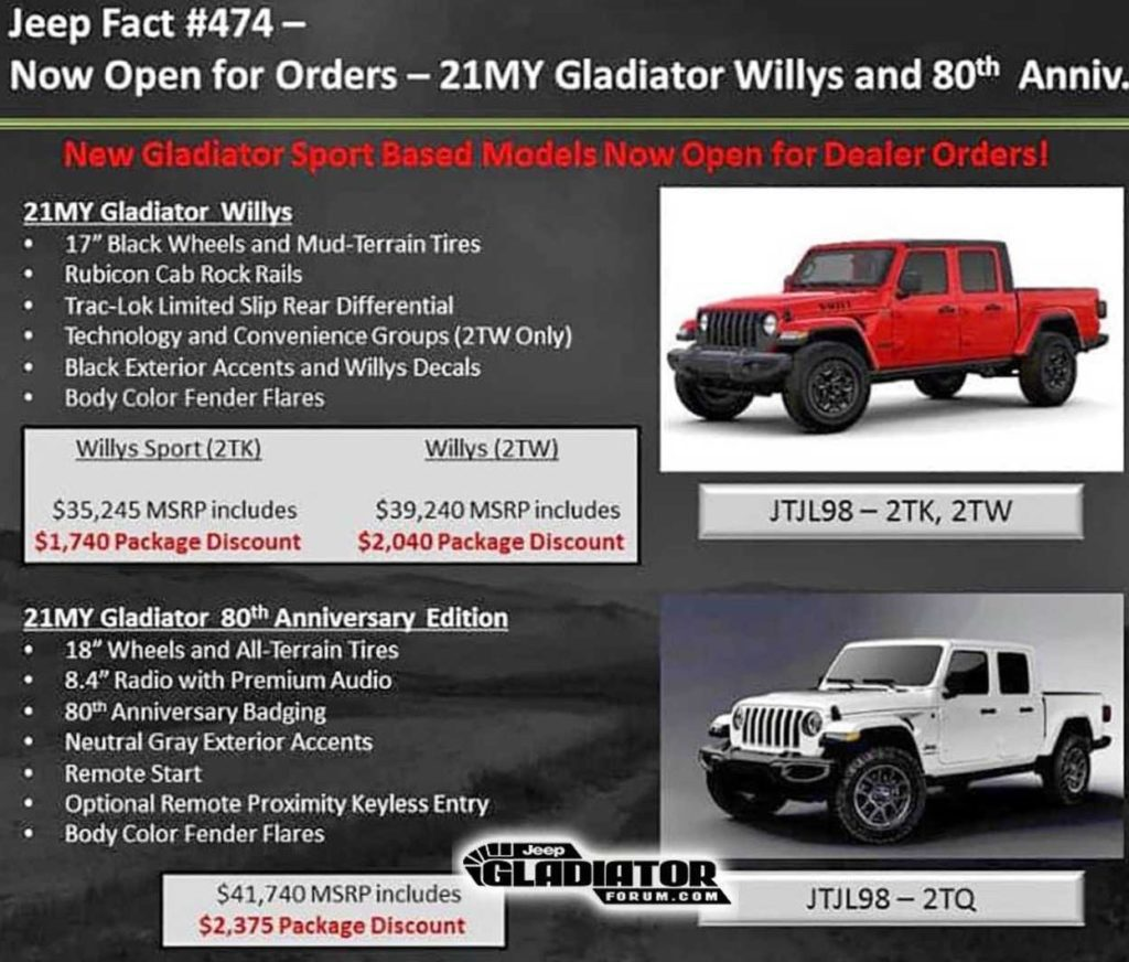 2021 Jeep Gladiator Willys and 80th Anniversary Editions