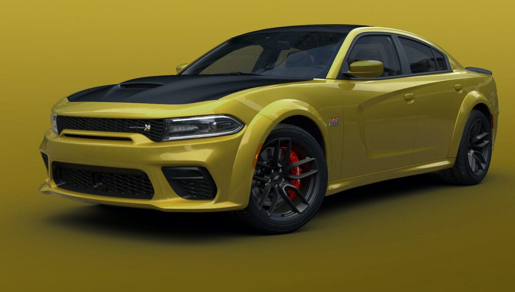 2021 Dodge Charger Scat Pack Widebody shown in Gold Rush exterior paint color
