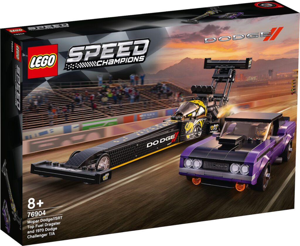 Dodge and LEGO team up for new building set featuring a 1970 Dodge Charger and a Top Fuel Dragster. Photo Credit: LEGO